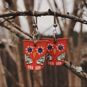 Painted Red Owl Earrings